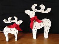 christmas star gazing reindeer decorations mother baby white glitter stars bells red ribbon