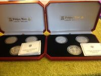 PAIR OF POBJOY MINT WW2 SET OF THREE COMMEMORATIVE PROOF FIVE POUND COINS.
