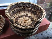 Two tone wicker pet basket.