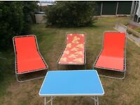Sun Loungers (x3) and Table