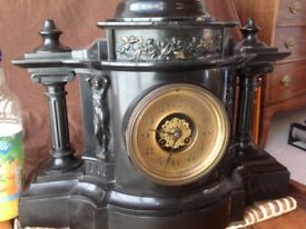 Antique Victorian Black Marble Mantle Clock with Boudicca on Chariot with Horses