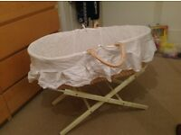 Moses basket and stand with mattress and three cellular blankets smoke and pet free home