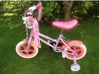 Pink girls toddler / child bike with stabilisers 12 inch wheels - excellent condition!