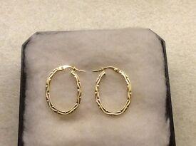 9ct YELLOW GOLD HOOP EARRINGS (BRAND NEW)