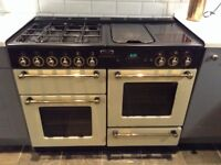 Rangemaster 110 duel fuel cream and black cooker, good condition