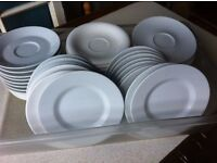 30 quality saucers & 17 side plates, job lot