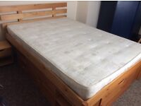 Argos Ultimate Storage pine double bed and mattress
