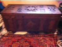 Hand carved antique wooden chest