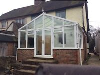 Conservatory, dismantled, glass roof , could deliver or collect 5 meters wide by 3
