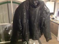 Large leather motorcycle jacket