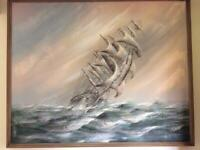 Original Large Canvas Painting - Scenic Sailing Ship in a Storm