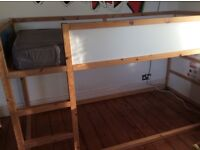 WOODEN SINGLE HIGH/LOW BUNK BED AND MATRESS