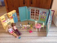 Barbie kitchen and accessories.