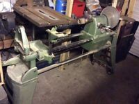 Multico wood lathe with large disc sander and extras