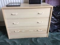 Pine effect bedroom chests 3 drawer & 5 drawer
