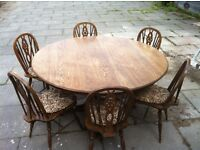 large round pedestal table 6 chairs use as is or shabby chic project 5ft