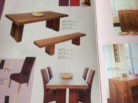 Large light teak solid wood Dining Table. Monastery style