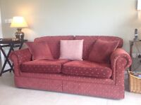 2 Dark Red Sofas with scatter cushions in excellent condition