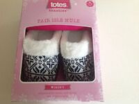 totes toasties fair isle mule; size 5/6 (UK), 38 - 39 (EUR)