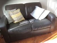 Leather sofa and two arm chairs