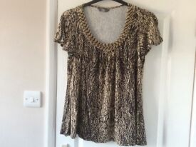 Flowy Ivory/Brown Beaded Top Size 16
