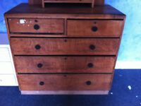 Large solid wood vintage chest of drawers