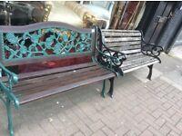 5 vintage cast iron garden benches
