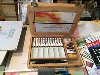 Windsor & Newton Half Pan Water Colour set, bamboo box, + other supplies