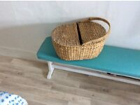 Rustic picnic basket with one handle and two side openings