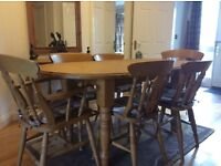 Very sturdy, solid pine extending table and 6 chairs
