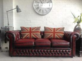 3 seater oxblood chesterfield sofa. VGC.One of a pair. Can deliver