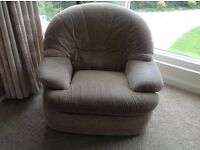 Armchairs, two, very soft, squishy and comfortable. Beige chenille fabric.