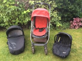 Oyster pram with Carrycot and baby car seat with covers