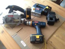 Ryobi set of 3 tools with batteries and charger.