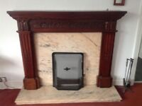 Hardwood and marble fireplace (161cm wide x 134cm high)