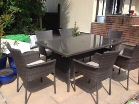Mali six seater table and chair set with cushions new and still boxed