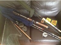 Three rods, three fly reels, one spinner, catch net and box flies