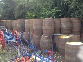 Oak whiskey barrels for the garden patio bar pub wedding