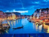 Large glass picture scene of Venice Canals 47 inch x24 inch. 120 cm x 60cm very good condition.