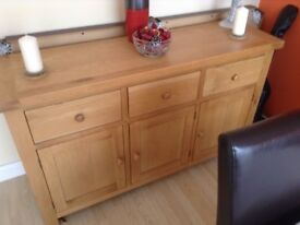 Light coloured modern solid oak sideboard