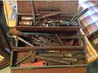 Metal tool box and various handtools