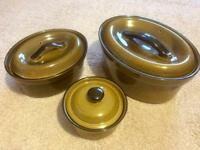 Vintage T G Green Church Gresley Set of Three Casserole Dishes 1980's