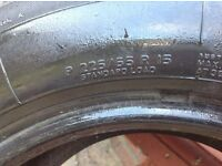 Two ( PIRELLI ) 4000 size 225 x 15 ZR 15 one with wheel. One descent tread ...one excellent