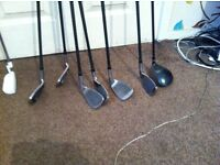 7 left hand pga tour master clubs an right hand mizuno mx17 and Dunlop putter hardly used