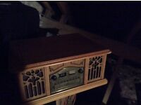 Vintage record player with cd & radio