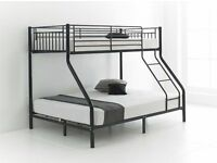 trio sleeper bunk bed in 3 colour black white or silver colors single top double bottom