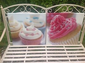 2x Girls cupcake canvas pictures