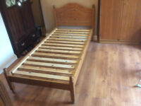 Single Pine wood bed frame and Mattress
