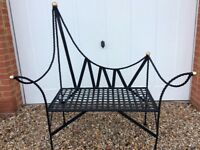 stylish garden bench, heavy black metal, seats 2, very good clean condition