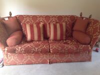 High back Knole sofa and matching armchair